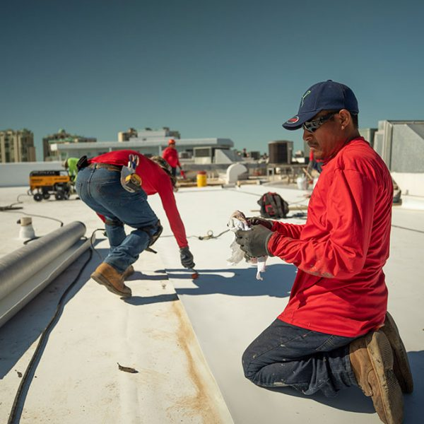 Target Roofing Employees on Roof